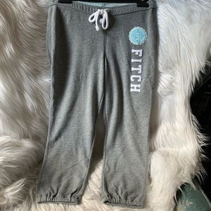 A&F Embroidered Logo Cropped Joggers Sweatpants
